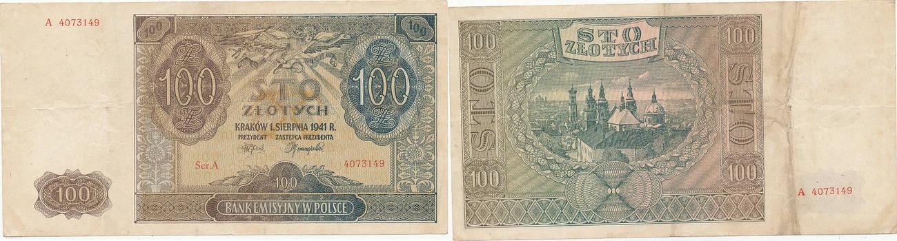 100 zlotych 1941 deutschland drittes reich generalgouvernement polen serie a gebraucht. Black Bedroom Furniture Sets. Home Design Ideas