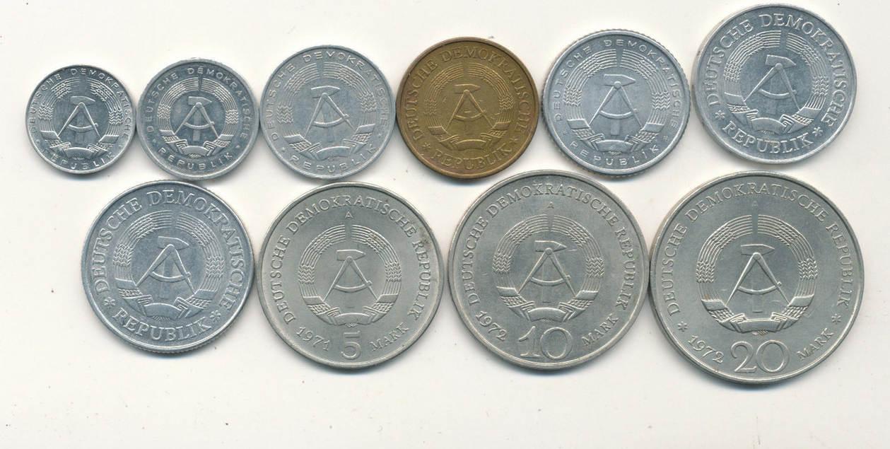 1 Pfennig 20 Mark Verschjahre Deutschlandddr Satz Ddr Münzenaus