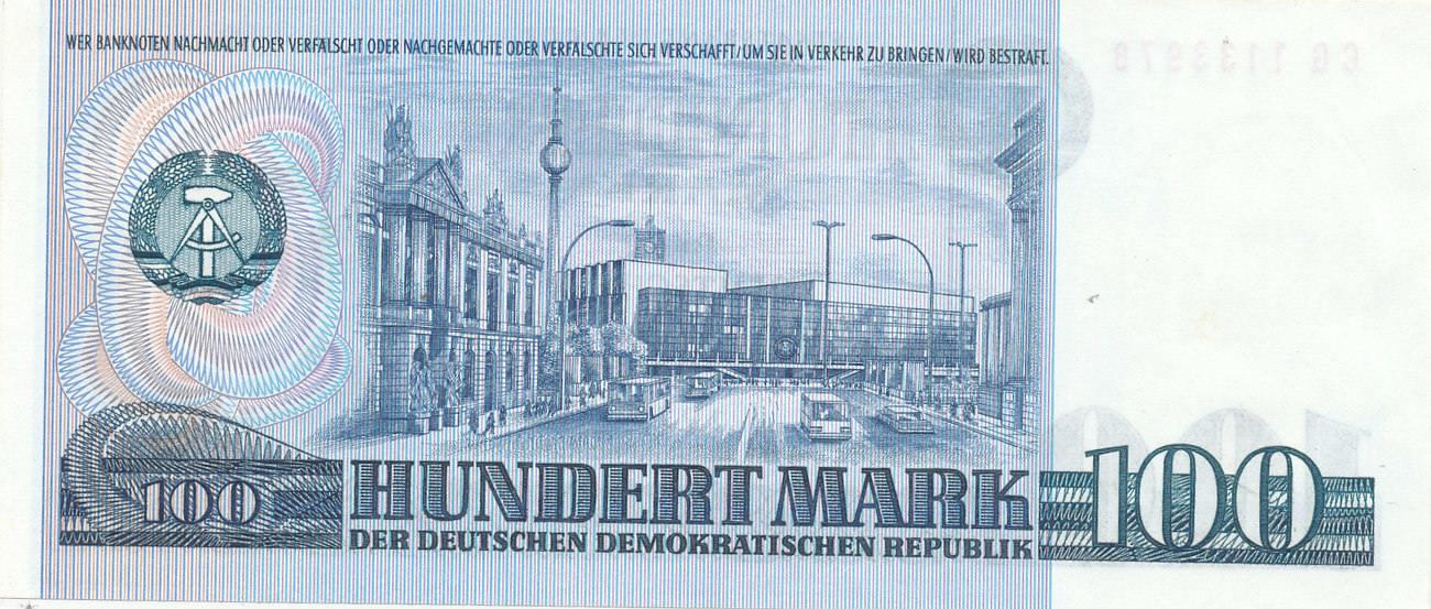 100 mark 1975 deutschland ddr computerdruck serie cg nicht im katalog fast. Black Bedroom Furniture Sets. Home Design Ideas