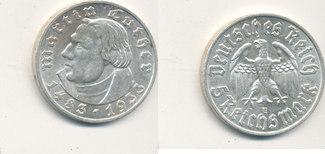 5 Reichsmark 1933 Mz.E Deutsches Reich,Drittes Reich, J.353 Martin Luther, vz+,