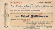 Sachsen 5 Mio.Mark 1.September Burgstädt, Spar Kredit und Bezugsverein