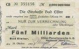 Sachsen 5 Mrd.Mark 26.Oktober Bad Elster, Porzellanwerke