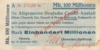 Deutsches Reich, Sachsen 100 Mio.Mark 19.September Chemnitz, Chemnitzer Stadtbank auf ADCA