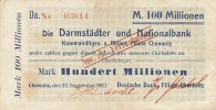 Deutsches Reich, Sachsen 100 Mio.Mark 22.September Chemnitz, Deutsche Bank auf DuN