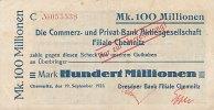 Deutsches Reich, Sachsen 100 Mio. Mark 19.September Chemnitz, Dresdner Bank auf CuPB