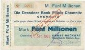 Deutsches Reich, Sachsen 5 Mio.Mark 11.September Chemnitz, Nadelfabrik Beckert auf Dresdner Bank