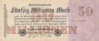 Deutsches Reich, 50 Mio.Mark Ro.97b Firmendruck KN 6 stellig, FZ:C