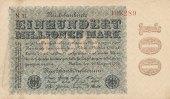 Deutsches Reich, 100 Mio.Mark Ro.106i Firmendruck, Wz.Kreuzblüten, KN 6 stellig braun, FZ:schwarz N,mit Fasern