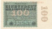 Deutsches Reich, 100 Mio.Mark Ro.106m Wz.Hakensterne KN 8 stellig rotbraun, FZ:schwarz CD