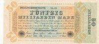 Deutsches Reich, Weimarer Republik 50 Mrd.Mark Inflation, Ro.117b Wz.Hakensterne, KN 6 stellig, FZ:VL,