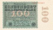 Deutsches Reich, Inflation, 100 Mio.Mark 100 Mio.Mark Ro.106r  Firmendruck FZ: CD, Wz. Ringe , KN: 8 stellig,