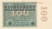 Deutsches Reich, Weimarer Republik, 100 Mio.Mark Ro.106r Wz.Ringe Firmendruck KN 8 stellig FZ.CD