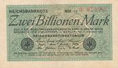 Deutsches Reich, Weimarer Republik, 2 Billionen Mark Ro.132a Wz.Hakensterne KN 6 stellig, FZ:MM,