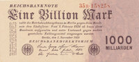 Deutsches Reich, 1 Billion Mark Ro.126b, Firmendruck, KN und FZ rot,