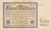 Deutsches Reich,Weimarer Republik, 1 Billion Mark Ro.131d, Firmendruck KN 6 stellig rot, FZ:schwarz AR,
