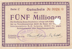 Deutsches Reich, Sachsen, 5 Millionen Mark, Oelsnitz i.V.,Stadt, Schenk,Schmidt & Beutler,
