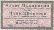 Deutsches Reich,Provinz Sachsen, 20 Millionen Mark Magdeburg, Stadt,