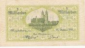 Deutsches Reich,Provinz Sachsen, 5 Milliarden Mark Magdeburg, Stadt,