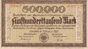Deutsches Reich,Weimarer Republik, 500000 Mark, Reichbahndirektion Dresden, Wz.G-S Muster,