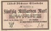 Deutsches Reich,Weimarer Republik, 50 Milliarden Mark Lübeck-Büchener Eisenbahn,