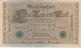 Deutsches Reich, Kaiserreich, 1000 Mark Ro.46a, KN 6 stellig,grün, Udr.Bst.E Serie C,