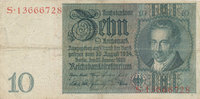 Deutsches Reich,Drittes Reich, 10 Reichsmark Friedensdruck, Udr. Bst. B, Serie S,