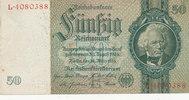 Deutsches Reich,Drittes Reich, 50 Reichsmark Ro.175a,Friedensdruck, Wz.Kopf,KN 7 stellig,Udr.Bst.E Serie L,