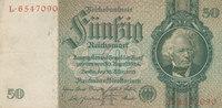 Deutsches Reich,Drittes Reich, 50 Reichsmark Ro.175a,Friedensdruck, Wz.Kopf,KN 7 stellig,Udr.Bst.H Serie L,