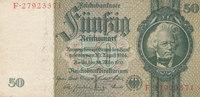 Deutsches Reich,Drittes Reich, 50 Reichsmark Ro.175c Zwischenform Wz.Kopf,Udr.Bst.L, Serie F,