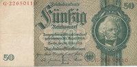Deutsches Reich,Drittes Reich, 50 Reichsmark Ro.175c Zwischenform Wz.Kopf,Udr.Bst.L, Serie G,
