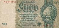 Deutsches Reich,Drittes Reich, 50 Reichsmark Ro.175c Zwischenform Wz.Kopf,Udr.Bst.L, Serie A,