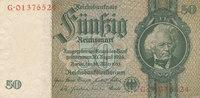 Deutsches Reich,Drittes Reich, 50 Reichsmark Ro.175c Kriegsdruck, Wz.Eichenlaub,Serie:G