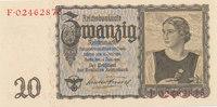 Deutsches Reich,Drittes Reich, 20 Reichsmark Ro.178a Udr.Bst.W, Serie F,