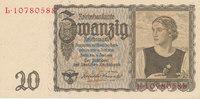 Deutsches Reich,Drittes Reich, 20 Reichsmark Ro.178a Udr.Bst.W, Serie L,