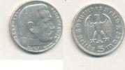 Deutsches Reich,Drittes Reich, 5 Reichsmark J.360 Hindenburg o. Hakenkreuz, Silber 0,900 (13,88g)