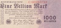Deutsches Reich,Weimarer Republik, 1 Billion Mark Ro.126a Reichsdruck,