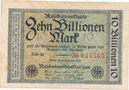 Deutsches Reich,Weimarer Republik, 10 Billionen Mark Ro.129a, Wz.Hakensterne,FZ:BM,