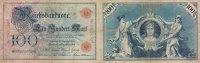 Deutsches Reich 100 Mark Ro.23a, KN 25mm lang, Udr.Buchstabe Q, Serie A,