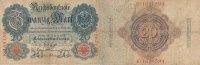Deutsches Reich, 20 Mark Ro.41 Udr.Buchstabe E, Serie K, mit Wasserzeichen,