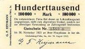 Sachsen 100ooo Mark 30.August Gückelsberg-Flöha