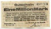 Sachsen 1 Mio.Mark 23.August Oelsnitz i.V.
