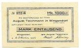 Sachsen 1000 Mark 6.Oktober Wingendorf, August Teichmann