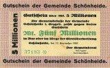 Deutschland 5 Mio. Mark 12.September Sachsen, Gemeinde Schönheide