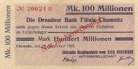 Sachsen 100 Mio.Mark 22.September Chemnitz, Sächsische Maschinenfabrik vorm. Rich. Hartmann