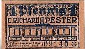 Sachsen 1 Pfennig Chemnitz, C.Richard Pester Kreuz-Drogerie