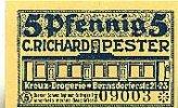 Sachsen 5 Pfennig Chemnitz, C.Richard Pester Kreuz-Drogerie