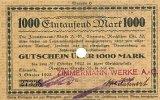 Sachsen 1000 Mark 5.Oktober Chemnitz, Zimmermann-Werke A.G.