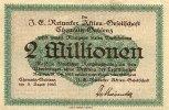 Sachsen 2 Mio.Mark 3.August Chemnitz-Gablenz, J.E.Reinecker A.G.
