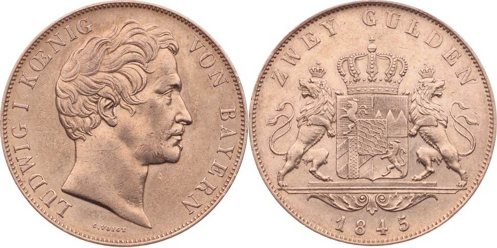 2 Gulden, Doppelgulden 1845 Bayern Ludwig I. von Bayern vz+