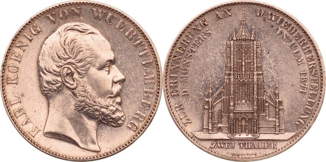Medaille 1871 Württemberg Württemberg, Medaille, Ulmer Münster, 1871, ss/vz ss/vz